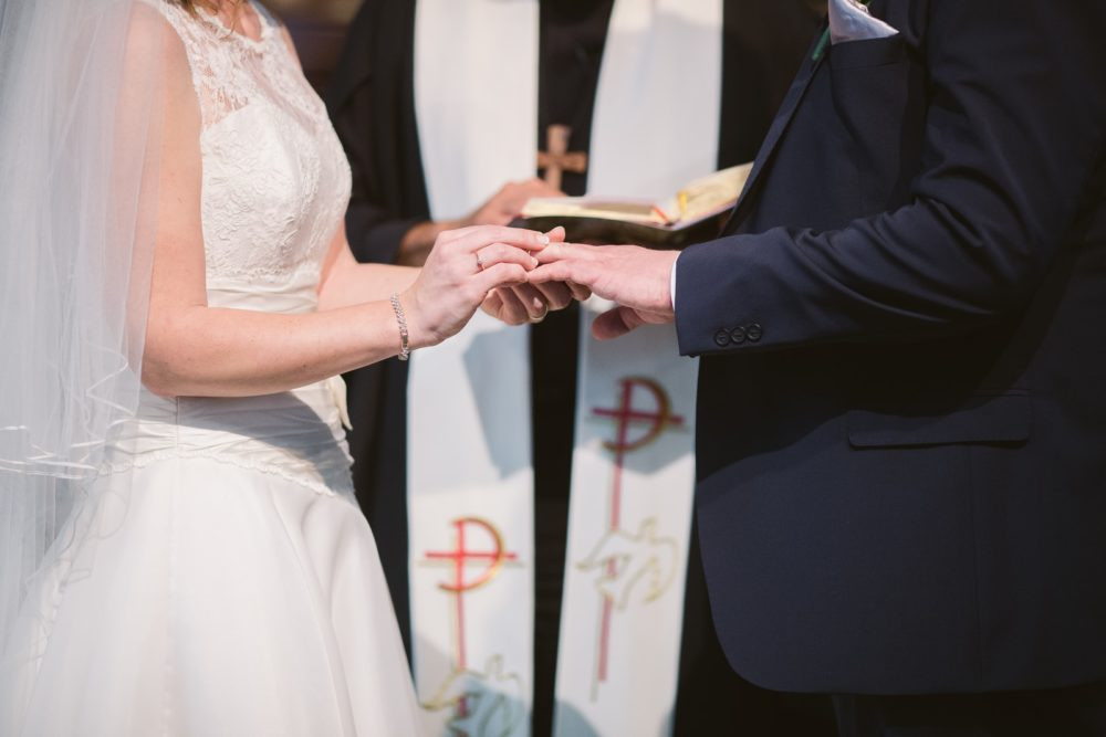 man and woman wedding reception